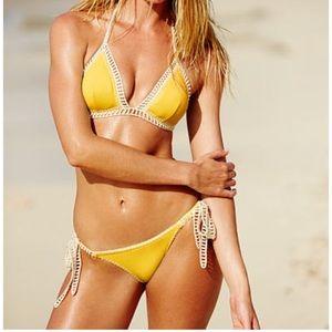 Victoria's Secret surf crochet bikini black xs